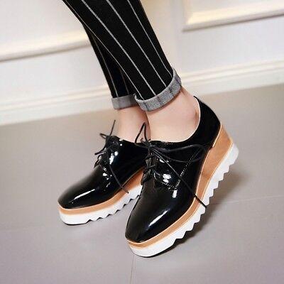 Women/'s Richelieu à escarpins à lacets bout rond talon compensé Creeper Plateforme Chaussures Oxford