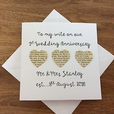 Personalised 1st first wedding anniversary card paper other anniversary PC007