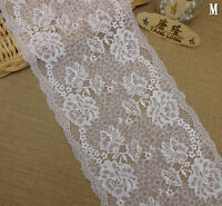 "1Yard*8.2"" White Stretch Embroider Lace Fabric Wedding Party DIY Tulle L2963"