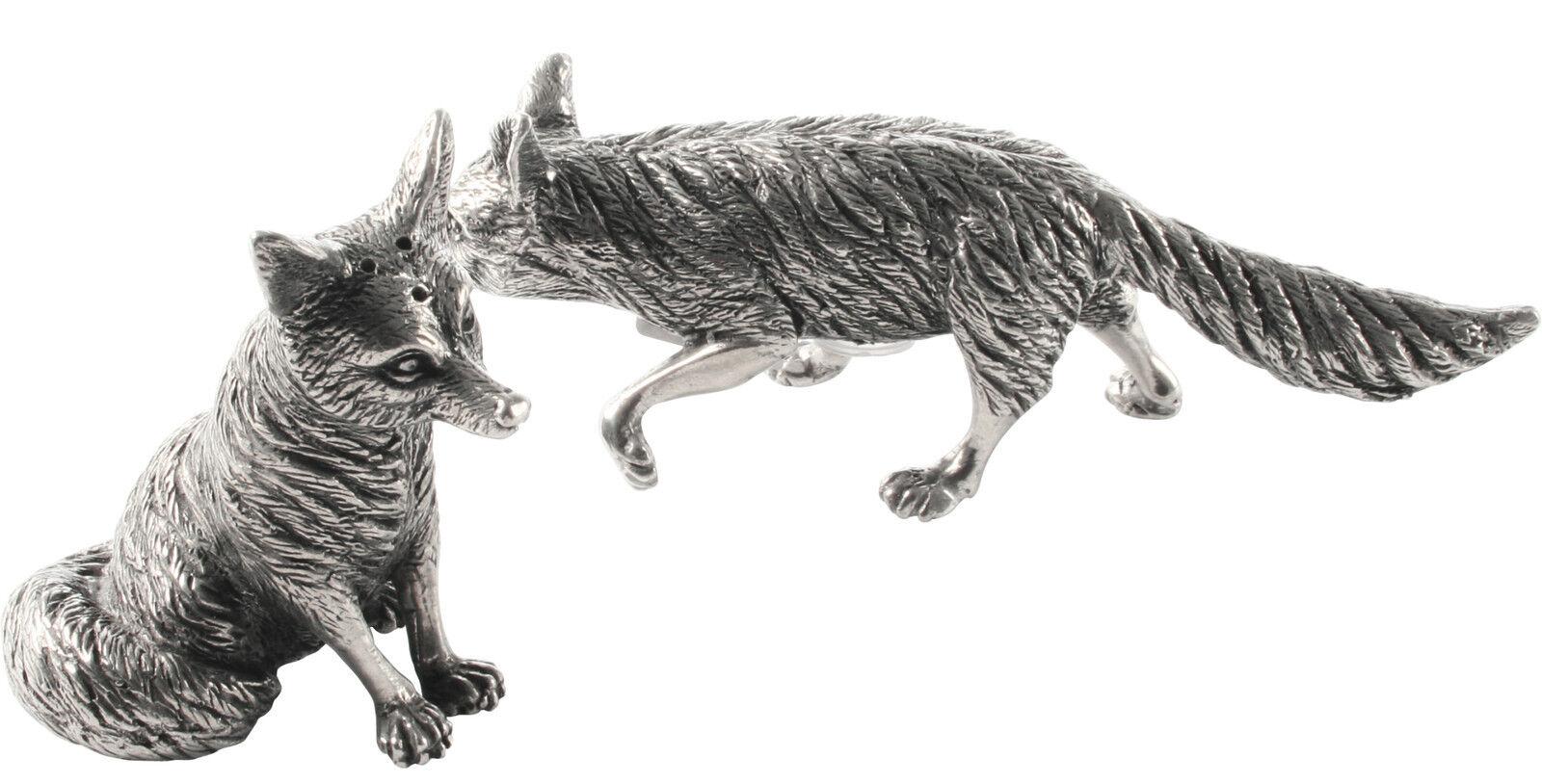 Fox salt & pepper set en étain condiment salière poivrière shakers pot cadeau renards neuf