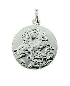925 sterling silver double sided st george medallion pendant chain image is loading 925 sterling silver double sided st george medallion aloadofball Image collections