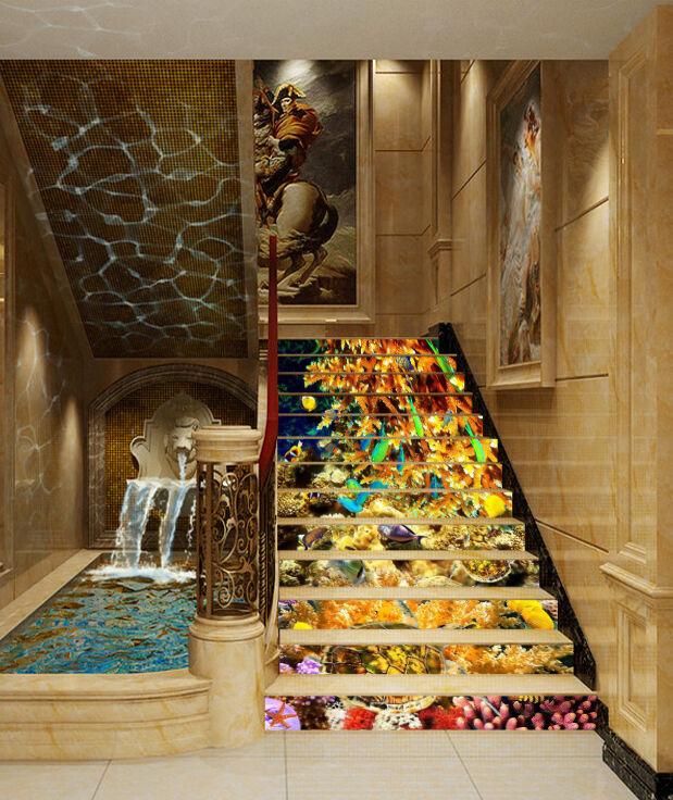 3D Koralle Ozean 68 Stair Risers Dekoration Fototapete Vinyl Aufkleber Tapete DE