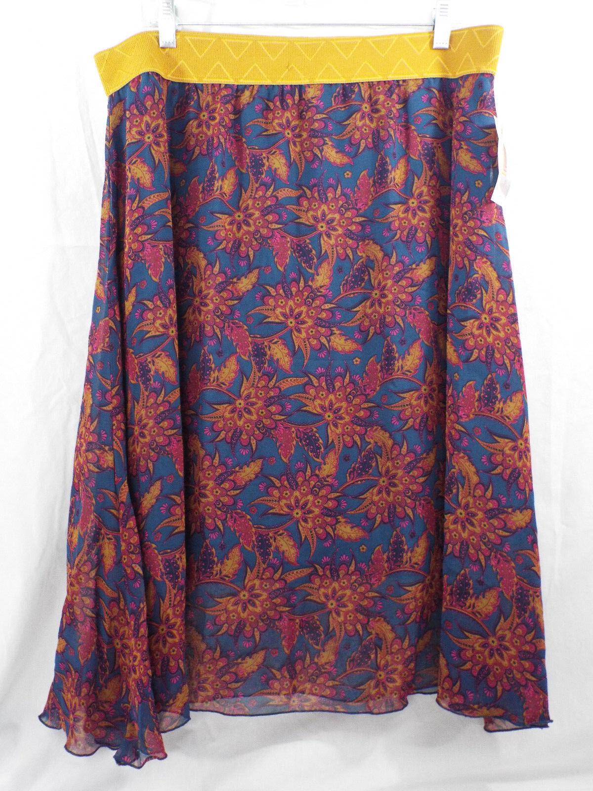 Women's LuLaRoe Lola Skirt 2XL gold Dark Teal Purple Brown NWT