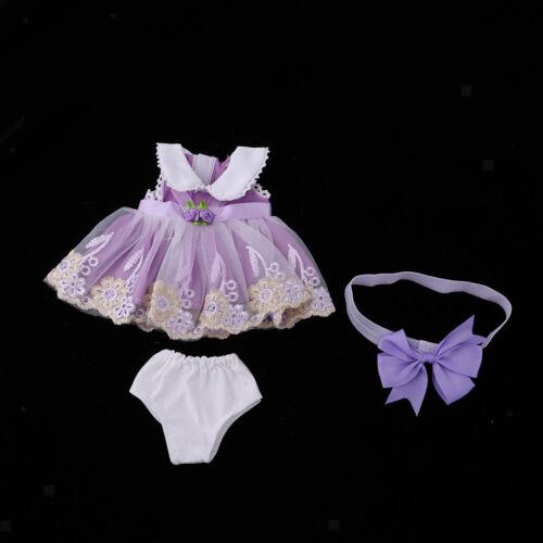 Clothes Dress Skirt /& Underpants Headband for 40cm 16-inch Salon Doll Purple