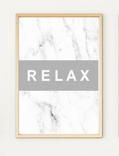Relax gris marbré Typographie salle de bain Bureau Chambre À Coucher A4 print poster PO326