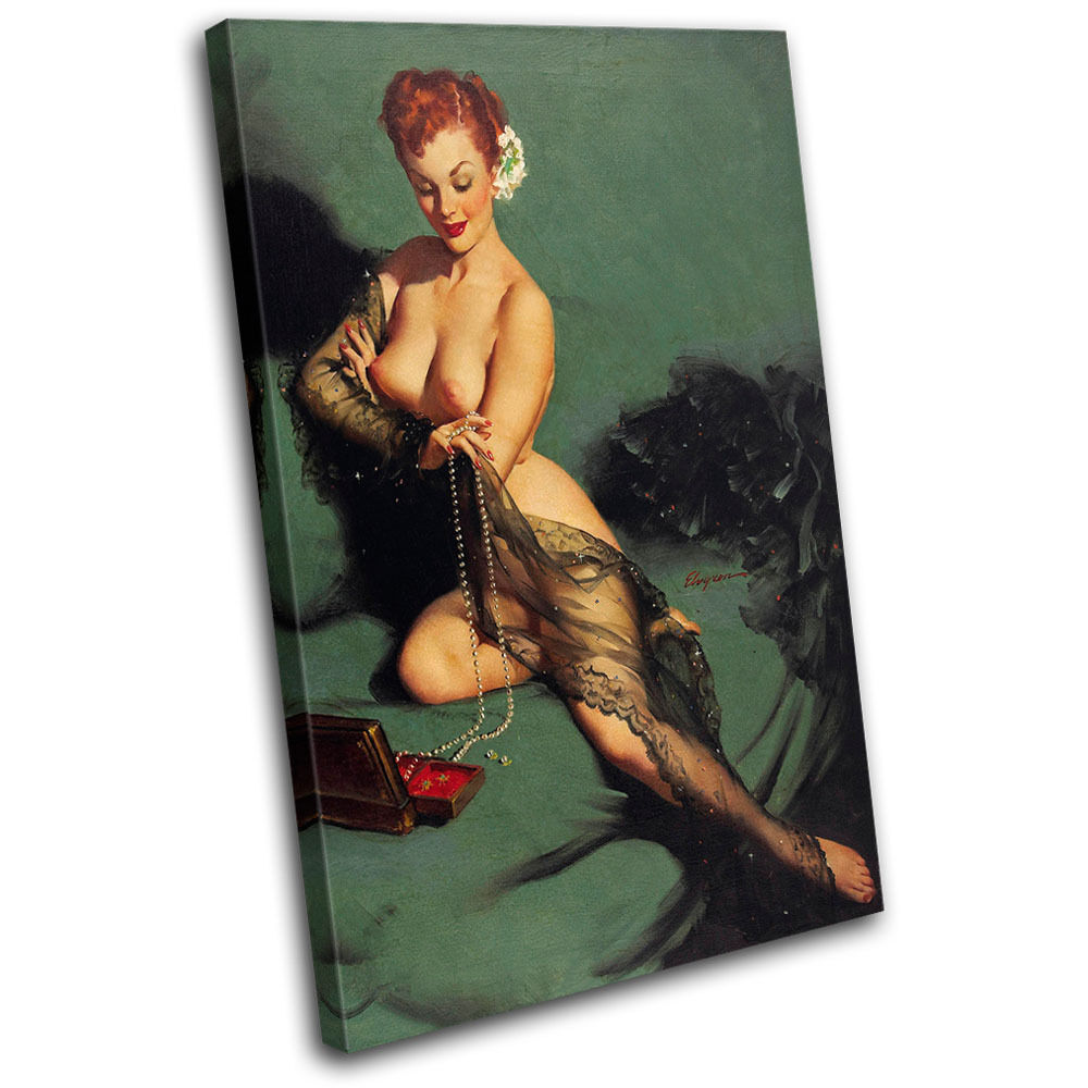 Vintage Girl Retro Pin-ups Nude SINGLE TOILE murale ART Photo Print