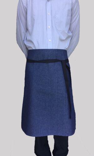 Wholesale Job Lot 6 Brand New Half Bistro Waist Apron Blue Denim Catering Cafe