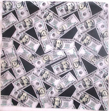 "GREEN BLACK $50 DOLLAR BILL BILLS COTTON BANDANA SCARF APPROX 20"" HAIR HEAD WRAP"