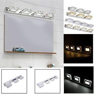 Image Is Loading Modern Bathroom Crystal LED Mirror Light Wall Mounted