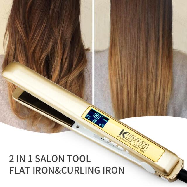 2 in 1 KIPOZI Pro 1 Inch Flat Iron Hair Straightener with Titanium Plates  Golden