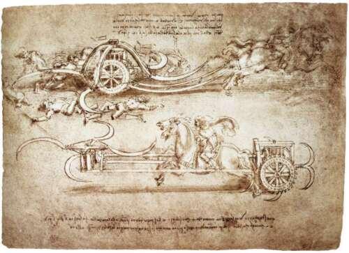 "Leonardo Da Vinci Chariot Painting Large 12.5/"" x 17.2/"" Real Canvas Art Print"