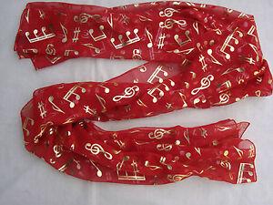 "MUSIC Scarf Red/Gold 60"" x 20"" Wear as Belt/Shawl/Around Neck Brand NEW"