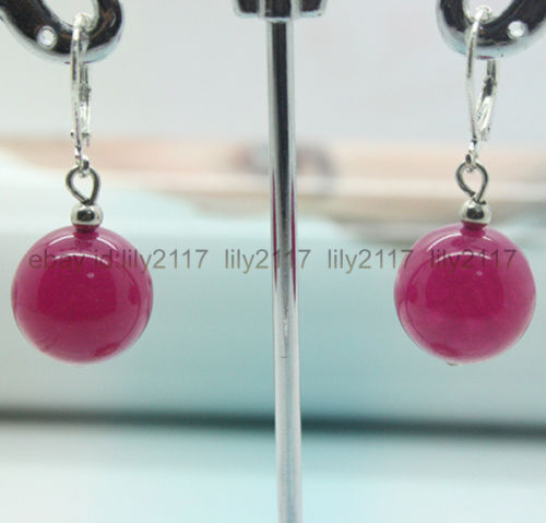 Pretty ! Handmade production 12 mm Rose Rouge Jade Perles rondes argent Boucles d/'oreilles