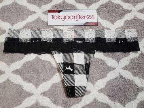 L Victoria/'s Secret PINK Lace Trim Thong Panties Underwear Blk//Wht Plaid