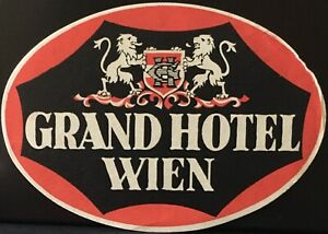 VIENNA WIEN AUSTRIA CENTRAL HOTEL VINTAGE LUGGAGE LABEL