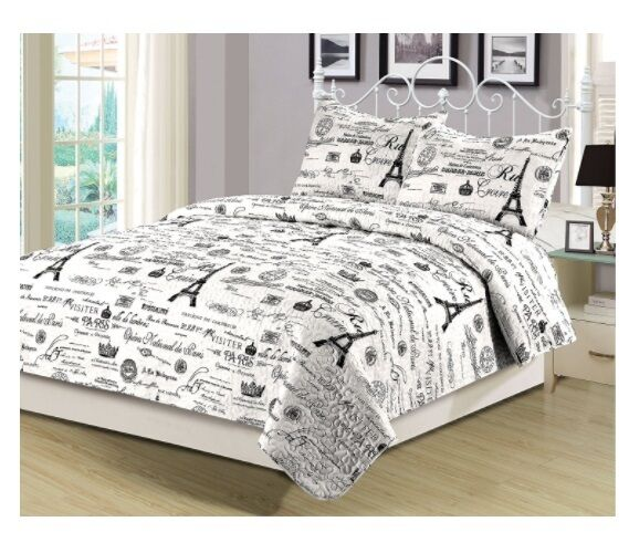 Paris Themed Bedding Set Eiffel Tower King Size Quilt Shams 3 Piece Parisian