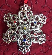 Lenox Sparkle & and Scroll Snowflake Christmas Ornament NIB - Multi Crystal