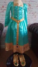 DISNEY STORE DELUXE THE BRAVE MERIDA COSTUME & SHOES 5-6 YRS FANCY DRESS
