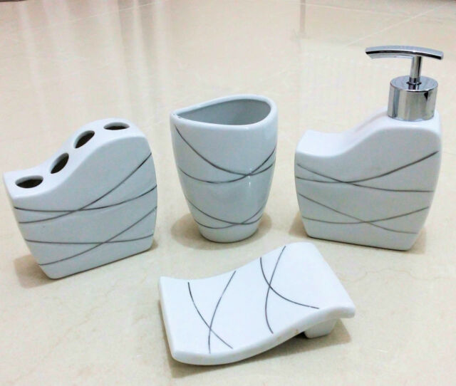 4Pc Ceramic Bathroom Accessory Set Soap Dish Dispenser Toothbrush Holder - White