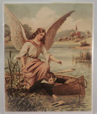 """Victorian Lithograph Print Picture Guardian Angel With Boy In A Boat 8"""" X 9.5"""""""
