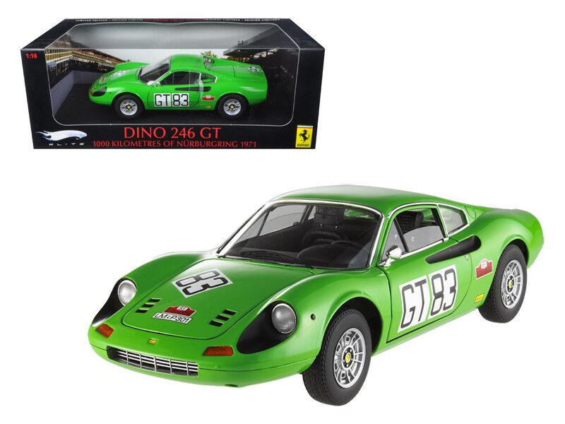 1 18 HOT WHEELS FERRARI DINO 246 GT  83 elite edition diecast modèle vert T6260