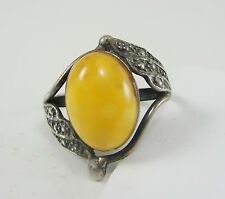 Artisan Vintage Sterling Butterscotch Amber Ring Size 7 Angel Wings Handcrafted