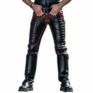 Para-hombres-Cuero-del-zurriago-Jeans-Pantalones-Jeans-Rojo-Rayas-Doble-Cremallera