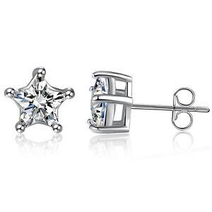 d058e3ff9 925 Sterling Silver 5 Prong Star Cubic ZIrconia Stud Earrings 14k ...