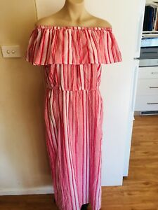 Ladies-Red-amp-White-Stripe-Off-The-Shoulder-Dress-Size-Large-14-16-Cotton-Long