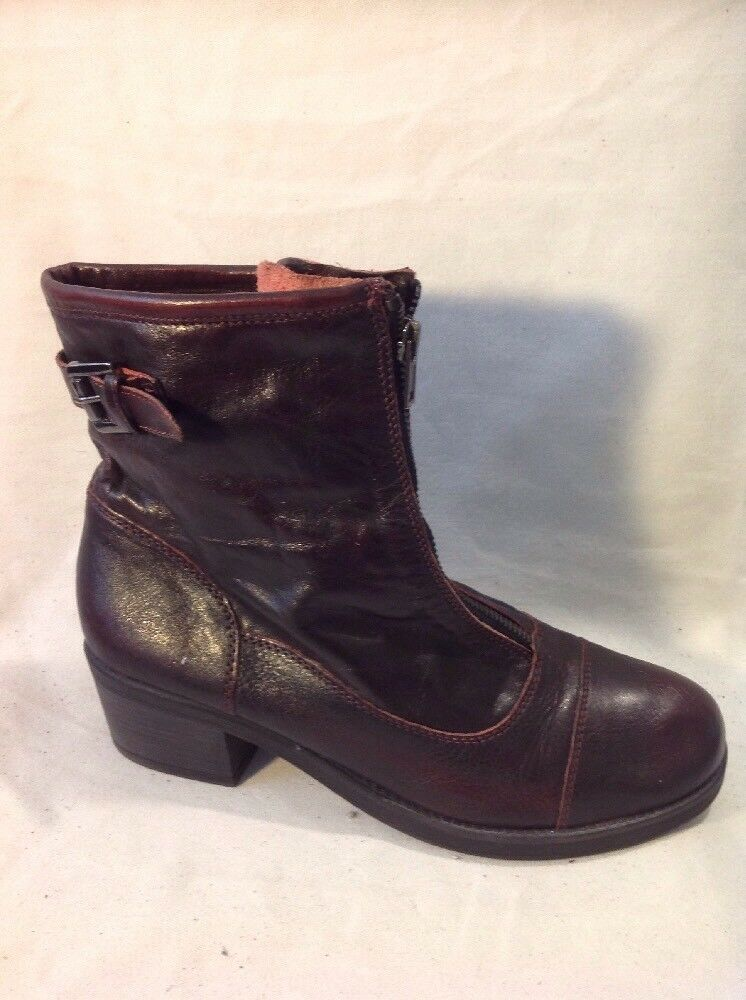 Next Maroon Ankle Leather Boots Size 40