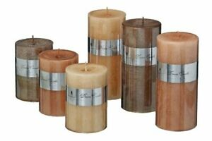1x-Kerze-Metallic-sortiert-H15cm-Stumpenkerze-braun-kupfer-oder-hellbraun-Deko