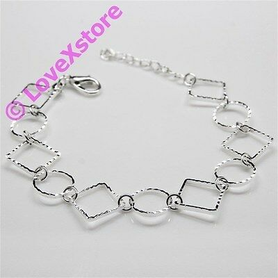 925 Sterling Silver Plated Sparky Ring & Square Chain Bracelet Bangle Bracelets
