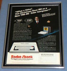 Radio-Shack-Tandy-TRS-80-Computer-Framed-Original-1980s-Ad-Isaac-Asimov-Vintage