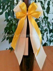 10 Antennenschleifen Autoschleifen Schleifen Autodeko Hochzeitsdeko creme gelb