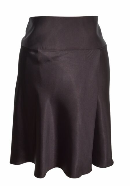 George Brand Faux Satin Brown A Line Knee Length Faux Wrap Skirt Size 18W Plus