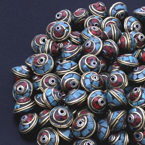 Tibetano perla facetada turquesa coral inlay Brass joyas-p00ei0095