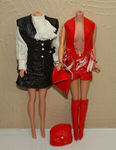 Vintage-Barbie-Lot-MOD-Clone-Outfits-Red-amp-Black-LEATHER-SPORTSWEAR-Mix-amp-Match