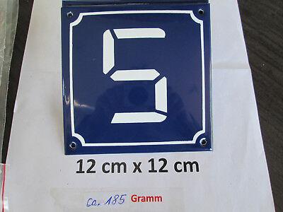 2019 Neuestes Design Digital Emaille-hausnummer Nr. 5 Weiße Zahl - Blauer Hintergrund 12cm X 12cm Preisnachlass