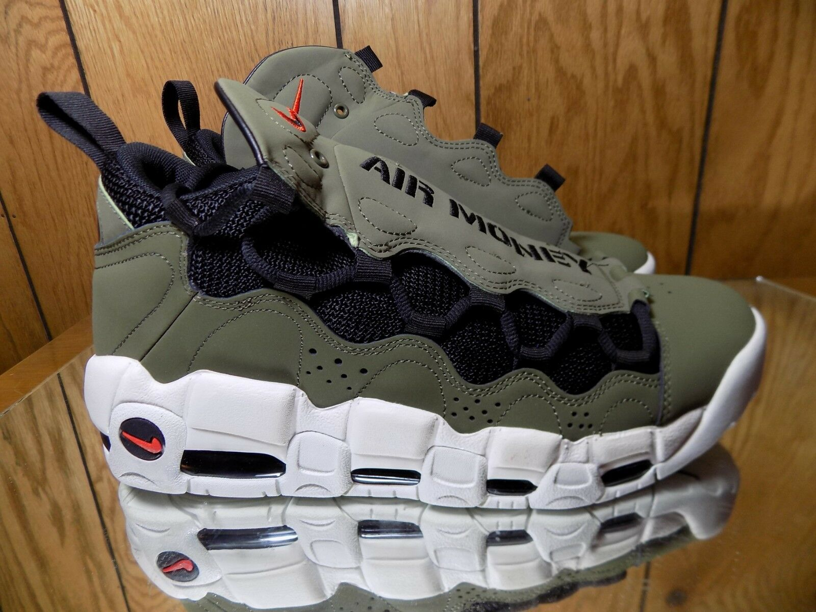 Nike Air More Money (Medium Olive Black-Habablack Red) shoes AJ2998-200 s 9