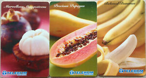 Malaysia-Used-Phone-Card-3-pcs-Local-Fruits