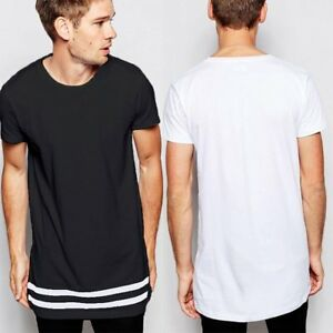 976ec9f70a0 Men s Hem stripes T-shirt Extended Longline Hipster Streetwear T ...