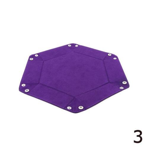 Faltbare PU Leder Hexagon Dice Tray Aufbewahrungsbox für DnD-Würfelspiele