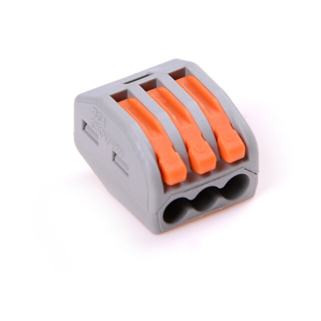 10Pcs 3 Pin Universal Compact Wire Wiring Connector Conductor Terminal Block EF