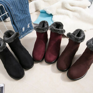 Womens-Winter-Warm-Ankle-Snow-Boots-Fleece-Lined-Thicken-Casual-Flats-Shoes-New