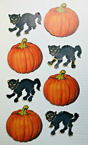 EIGHT-VINTAGE-1930-039-s-Halloween-Cardboard-Decoration-BLACK-CATS-amp-PUMPKINS