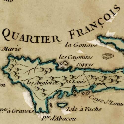 "Parisian Map of Hispanola Island w Haiti /& Dominican Republic circa 1767 18/""x24/"""