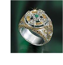 The Franklin Mint Power of The Emerald Isle Celtic Cross Ring Men's Size 10 New