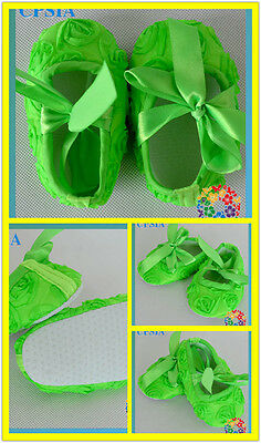 Baby Shoes Fluorescent Orange bright  First christening party lace bow pram