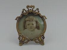 Antique french Ormolu Rococo Bronze Round Petite Photo Frame Picture