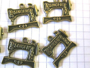 5-or-10-Bronze-Metal-Singer-sewing-machine-Charms-Jewellery-Embellishment